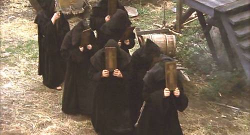 monks thwacking selves with boards - Monty Python