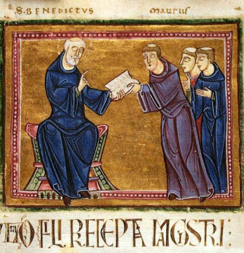 Benedict delivering his rule to the monks of his order