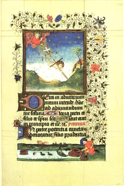 Illumination from the Book of Hours of Catherine of Cleves, duchess of Guelders, ca, 1440. God the Father launches the Dove of the Holy Spirit and the naked Christ child to earth, symbolizing the Incarnation—the moment the Virgin Mary conceived. The fishing nets and traps below make a further reference to the Incarnation, representing the corporeal prison of the soul.